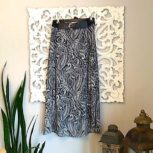 Roz & Ali Blue and White Print Maxi Skirt